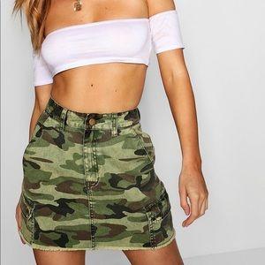 BRAND NEW W/ TAGS Camo Denim Skirt